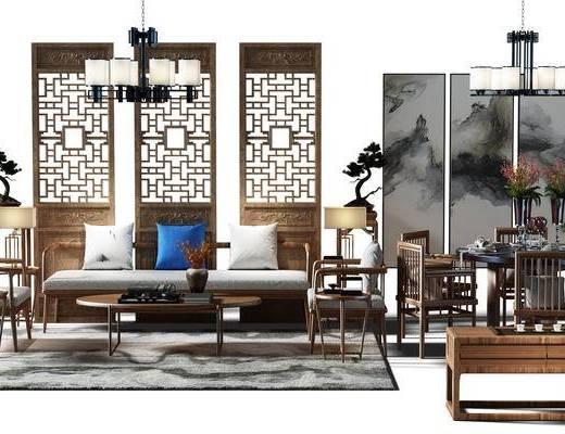沙发组, 隔断, 盆景, 植物, 端景台, 画, 装饰画, 组合画, 餐桌椅组合, 桌椅, 餐桌, 电视柜, 桌椅组合, 地毯, 沙发茶几组合