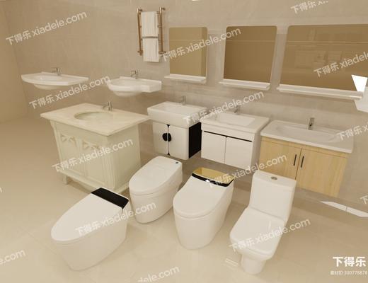 洗手臺, 馬桶, 裝飾柜, 裝飾架, 現代