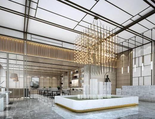 新中式售楼处, 沙盘区大堂洽谈区