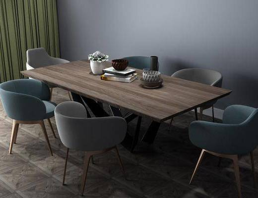 现代餐桌, 餐桌, 餐桌椅, 桌椅组合