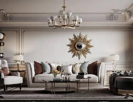 美式, 客厅, 多人沙发, 吊灯, 单椅, 边几