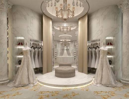 欧式, 婚纱店, 婚纱, 灯具, 凳子, 展架