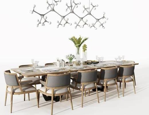 现代餐桌组合, 餐桌, 吊灯, 单椅