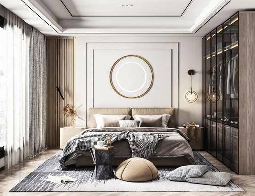 双人床, 衣柜, 壁灯, 床头柜, 地毯, 墙饰