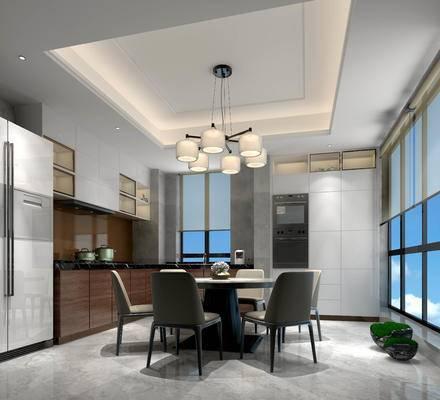 现代厨房, 开放式厨房, 餐桌椅, 现代吊灯, 冰箱
