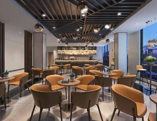 咖啡店, 餐桌, 餐椅, 单人椅, 吧台, 吧椅, 吊灯, 现代