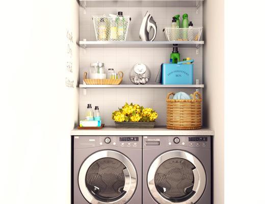 现代简约, 洗衣机, 置物架, 日用品组合
