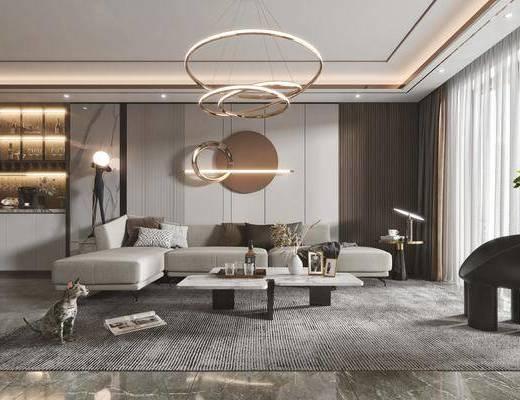 现代客餐厅, 沙发, 茶几