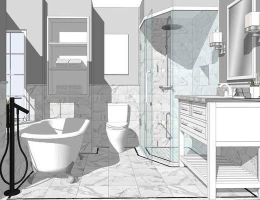 卫浴组合, 浴缸, 马桶, 洗手盆, 壁镜, 壁灯
