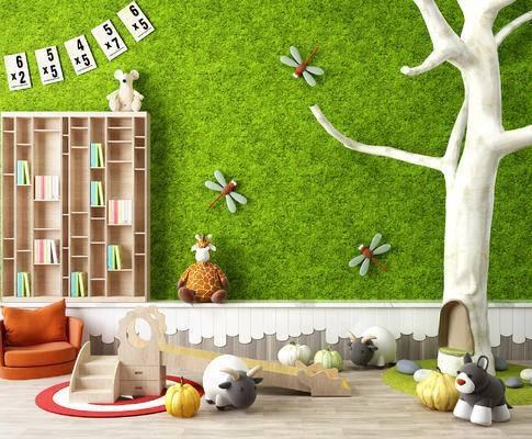 儿童早教中心玩具, 假树, 幼儿园摆设, 滑滑梯, 布娃娃, 儿童椅子