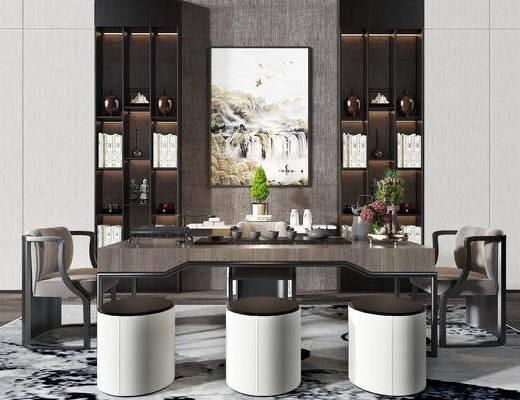 书桌, 椅子, 书柜, 装饰品, 茶具组合, 茶桌