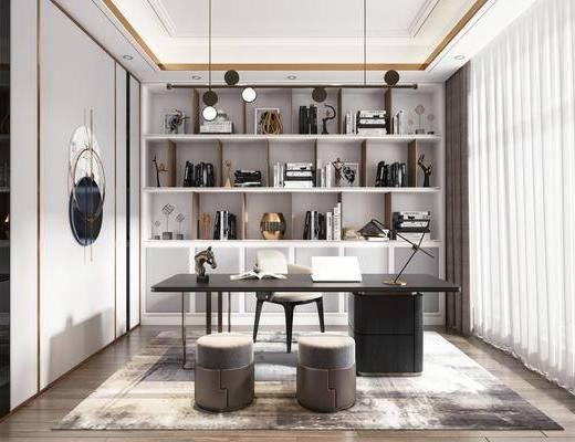 书桌, 桌椅组合, 书柜, 书籍, 摆件组合