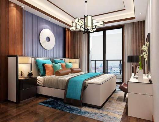 新中式卧室, 卧室, 床具, 床头柜, 墙饰, 吊灯, 摆件, 装饰品, 花瓶, 花卉, 电视柜, 单椅, 休闲椅, 台灯, 新中式
