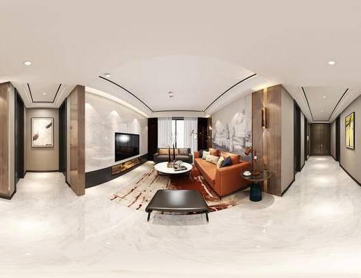 现代港式客餐厅全景, 棕色沙发, 圆几, 壁灯, 玄关, 餐桌椅组合