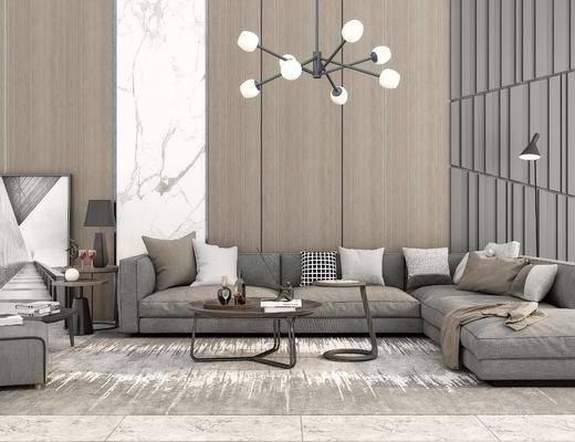 沙发组合, 沙发茶几组合, 吊灯, 台灯, 摆件组合, 现代