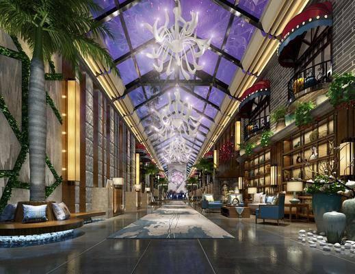 酒店, 现代, 巴洛克, 大堂, 大厅, 走廊