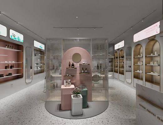 化妆品展柜, 品牌展柜, 收银台, 商场展厅
