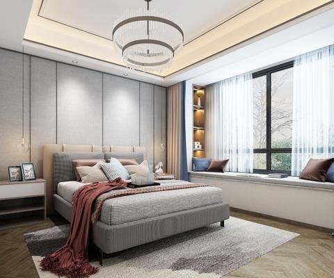 现代卧室, 双人床, 飘窗, 吊灯