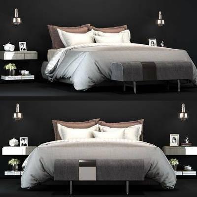 双人床, 床具, 床头柜, 摆件, 吊灯, 花瓶, 花卉, 现代