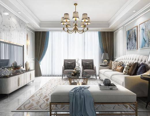 简欧客厅, 客厅, 沙发组合, 沙发茶几组合, 简欧沙发