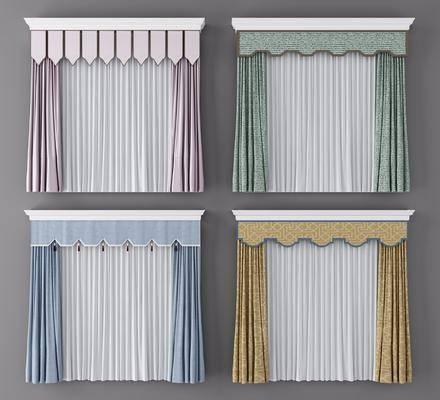窗帘组合, 窗帘, 新中式
