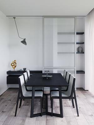 餐厅, 桌椅组合, 置物柜, 摆件组合, 吊灯