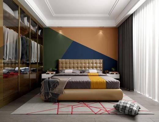 臥室, 后現代, 后現代臥室, 床具, 雙人床, 抱枕, 衣柜, 衣服, 床頭柜