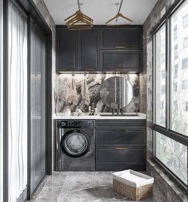 现代阳台, 洗衣机, 洗手台