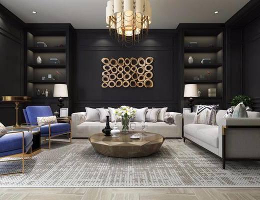 會客廳, 多人沙發, 邊幾, 臺燈, 單人沙發, 墻飾, 吊燈, 茶幾, 吧臺, 吧椅, 單人椅, 美式