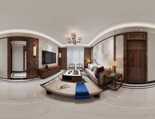 中式客厅, 客厅, 餐厅, 餐桌椅, 沙发组合