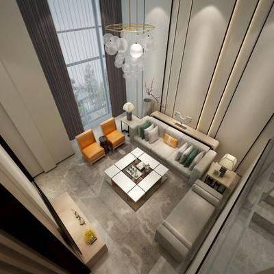 现代客厅, 现代, 客厅, 别墅, 沙发组合, 茶几, 吊灯