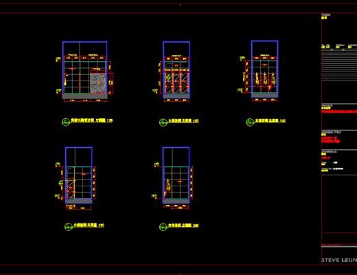 CAD施工图, 会所, 工装, 平面图, 立面图