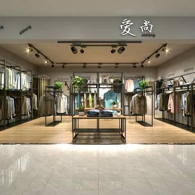男装店, 服装, 货架, 中岛, 衣架, 工业风