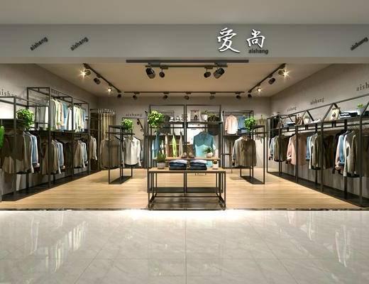 男装店, 服装, 货架, 中岛, 现代, 衣架