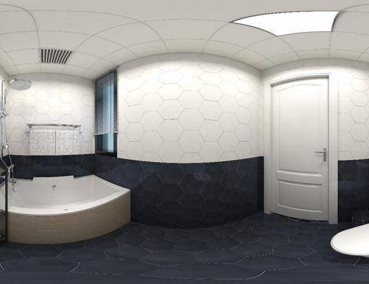 卫浴, 卫生间, 北欧卫浴, 全景图, 浴缸, 卫浴小件, 北欧