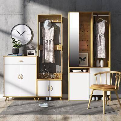 鞋柜, 现代鞋柜组合, 摆件, 装饰品, 边柜, 植物, 盆栽, 衣服, 鞋子, 单椅, 现代