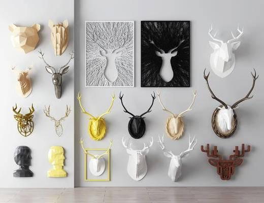 鹿头, 北欧墙饰, 墙饰