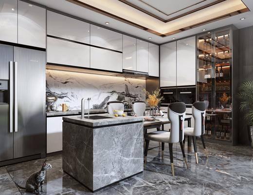 餐厅, 餐桌, 椅子, 酒柜, 冰箱, 装饰品, 摆件