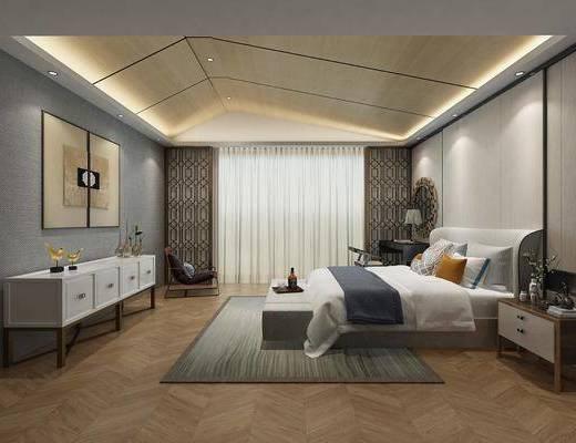 卧室, 双人床, 床头柜, 床尾凳, 电视柜, 装饰柜, 边柜, 书桌, 单人椅, 台灯, 装饰镜, 装饰画, 挂画, 中式
