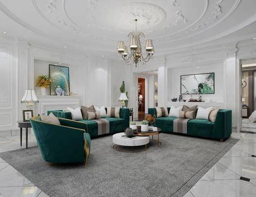 沙发组合, 茶几, 吊灯, 摆件组合, 壁炉, 装饰画