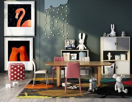 书桌, 桌椅组合, 吊灯, 边柜, 摆件组合, 装饰画