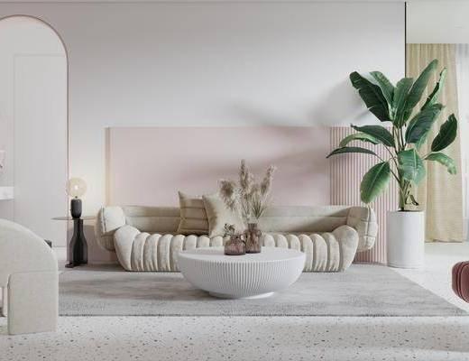 沙发茶几组合, 单椅, 弧形沙发, 植物