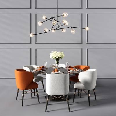 现代餐桌椅, 餐桌椅, 吊灯, 圆形餐桌, 椅子, 饰品, 摆件