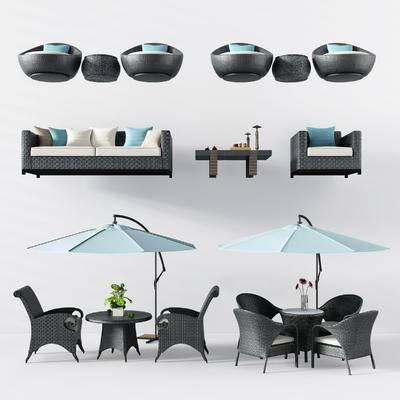现代, 户外椅, 藤编椅, 桌椅组合, 遮阳伞