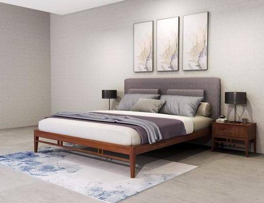 双人床, 床头柜, 装饰画, 台灯, 现代