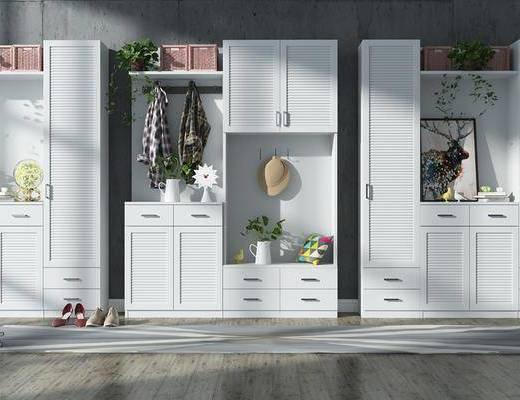 装饰柜, 玄关柜, 鞋柜, 摆件, 服饰, 装饰画, 绿植, 现代