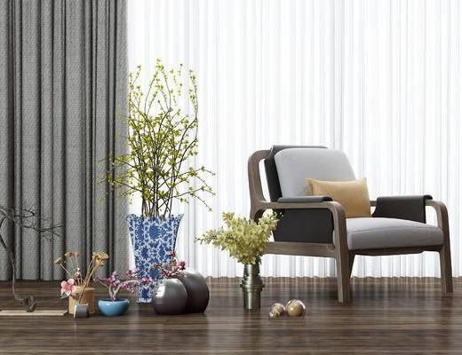 新中式, 盆栽, 植物, 摆件, 装饰品, 陈设品, 单椅, 椅子