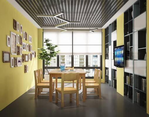 现代风格, 现代风格洽谈室, 书架, 桌椅, 电视机
