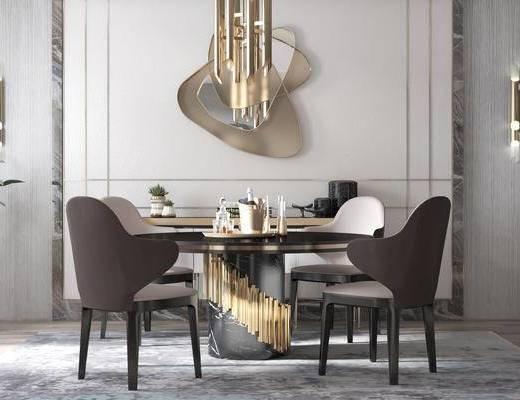 椅子, 落地灯, 吊灯, 餐厅, 墙饰