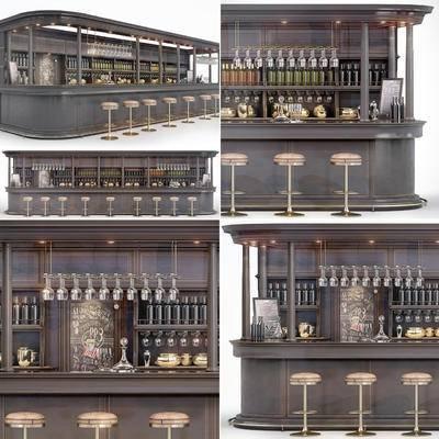 吧台, 吧椅, 酒水, 酒杯, 调酒器, 酒柜, 工业风